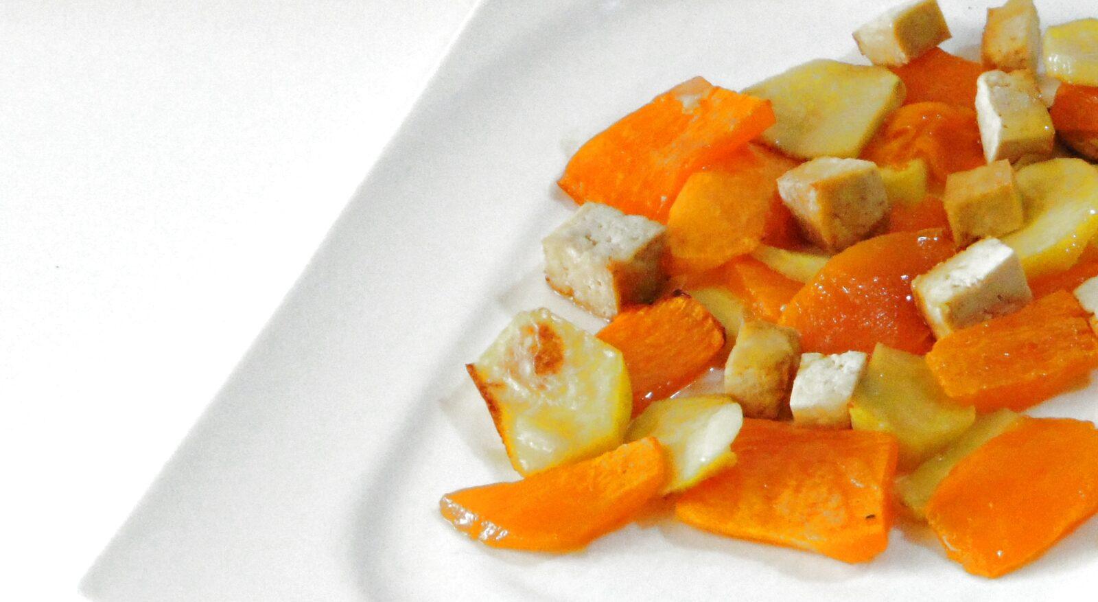 Tofu con zucca e patate al forno